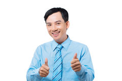 Showing thumbs-up Stock Photo