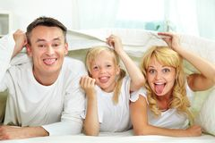 Showing tongues. Portrait of happy parents and their daughter with blanket above their heads showing tongues Royalty Free Stock Photo