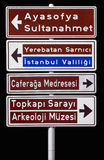 Isolated traffic signpost in Istanbul Turkey Royalty Free Stock Images