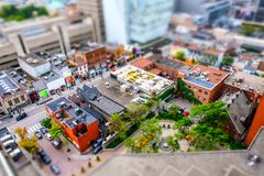 Interesting, miniature diorama effect seen from a tall vantage point of the Toronto city centre. royalty free stock image