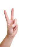 Showing the victory sign. Hand showing the victory sign with forefinger and middle finger Royalty Free Stock Images