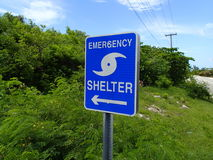 Showing the way to a shelter for emergencies Royalty Free Stock Photo