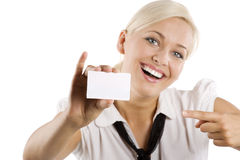 Showing white card Royalty Free Stock Photo