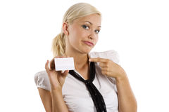 Showing white card making face Royalty Free Stock Photo