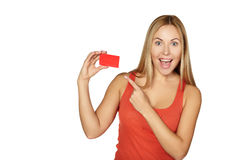 Showing woman presenting blank card sign. Royalty Free Stock Photos