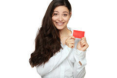 Showing woman presenting blank gift card sign. Isolated on white background Stock Photos
