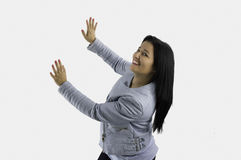Showing woman with two hands Stock Photos