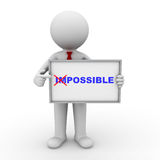 Showing word impossible into possible. 3d businessman turning the word impossible into possible and showing on whiteboard on white background Royalty Free Stock Photo