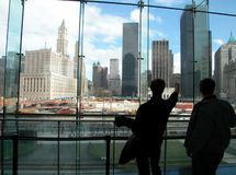 Showing WTC site. Two visitors looking at the wtc ruins site, New York Stock Images