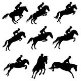 Showjumping silhouettes Royalty Free Stock Images