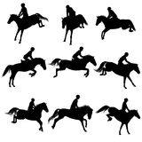 Showjumping silhouettes Stock Photo