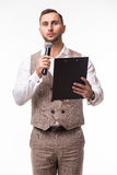 The Showman interviewer with blank Royalty Free Stock Photo