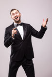 The Showman interviewer with emotions. Royalty Free Stock Photo