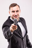 The Showman interviewer. Royalty Free Stock Images