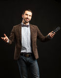 Showman with a microphone Stock Photos