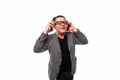 Showman singing in microphone with emotional gesture Stock Images