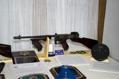 Tommy gun and case. Shown here is one of the actual Tommy guns used in the st valentines day massacre. Morton house, in Berrien county Michigan, hosted a display stock photography