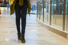 Shown leg of woman shopping in Shopping Mall Royalty Free Stock Photo