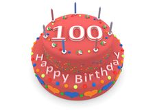 Red cake with happy birthday and the age. Shown is a red cake with the age and happy birthday vector illustration