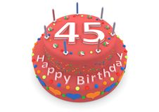 Red cake with happy birthday and the age. Shown is a red cake with the age and happy birthday Royalty Free Stock Photo