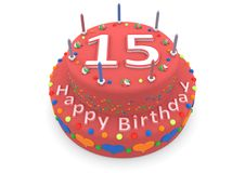 Red cake with happy birthday and the age. Shown is a red cake with the age and happy birthday Royalty Free Stock Image