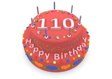 Red cake with happy birthday and the age. Shown is a red cake with the age and happy birthday Royalty Free Stock Photos
