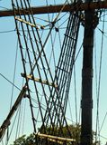Mast and Rigging closeup of Mayflower 2 Plymouth Mas. Shown on State Pier on Plymouth Waterfront. The ship is considered a faithful generic replica within a few stock images