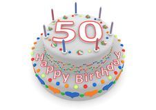 White cake with happy birthday and the age. Shown is a white cake with the age and happy birthday Royalty Free Stock Photography
