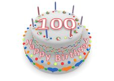 White cake with happy birthday and the age. Shown is a white cake with the age and happy birthday stock illustration