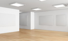 Showroom. One showroom with a wooden floor and blank panels on the walls (3d render Royalty Free Stock Image