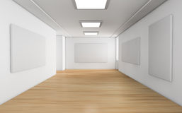 Showroom. One showroom with a wooden floor and blank panels on the walls (3d render Stock Photos