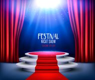 Showroom Background With A Red Carpet and Spotlight. Stock Photography