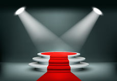 Showroom Background With A Red Carpet. Vector Stock Photo