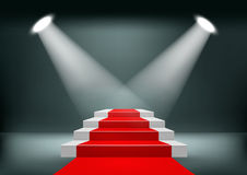 Showroom Background With A Red Carpet. Royalty Free Stock Photos