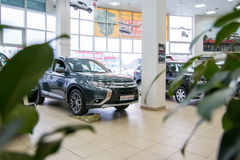 Showroom and car of dealership Mitsubishi in Kirov city in 2016 Stock Photography