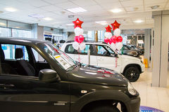 Showroom of dealership Chevrolet and car in it in Kirov city in Royalty Free Stock Photography