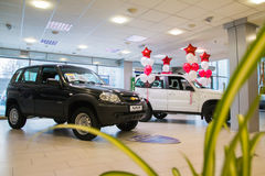 Showroom of dealership Chevrolet and car in it in Kirov city in Stock Image