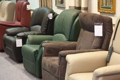 Showroom for retail of luxury armchairs Royalty Free Stock Photo