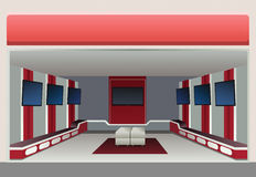 Showroom with tv in shop. Vector Royalty Free Stock Photo