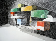 Showroom wall sketch. Perspective of showroom, glass and objects Stock Photo
