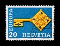 Shows befestigen mit CEPT-Ausweis, Europa C e P T 1968 - Schlüssel-serie, circa 1968 Stockfoto