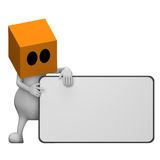 Shows a business card. 3d little cute people with cube orange head, shows a business card, isolated on white Stock Photos