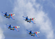 Shows demonstration flight at MAKS 2015. Stock Photography