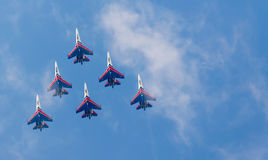 Shows demonstration flight at MAKS 2015. Royalty Free Stock Image