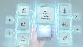 Shows disabled wheelchair handicapped invalid health care medical service scheme concept visualizing from mobile devices. Shows disabled wheelchair handicapped stock footage