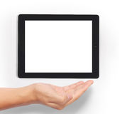 Shows tablet on hand Stock Photos