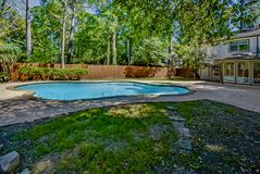 Well Maintained Backyard Pool. This shows a well maintained backyard with a lovely shaded pool royalty free stock photo