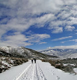 Showshoers hike up a snow covered road Stock Image