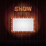 Showtime减速火箭的标志有帷幕背景 库存图片