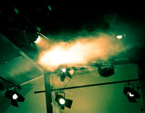 Showtime. Studio lighting photograph, taken just moments after smoke has been released Royalty Free Stock Images